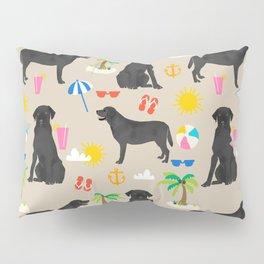 Black Lab labrador retriever dog breed beach summer vacation dog gifts Pillow Sham