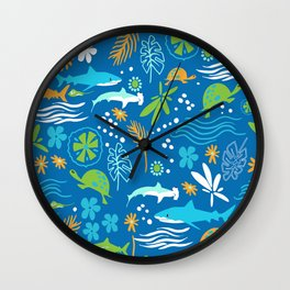 Sharks, Sting Rays and Turtles Wall Clock