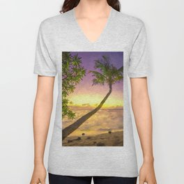 Tropical sunset beach with palms Unisex V-Neck