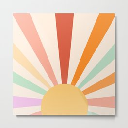 Boho Sun Colorful Metal Print