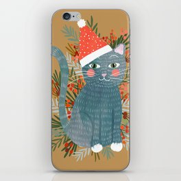 Blue Cat cute christmas xmas tree holiday funny cat art cat lady gift unique pet gifts iPhone Skin
