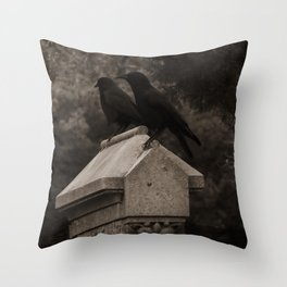 Cemetery Crows Throw Pillow