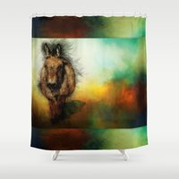 donkey kong Shower Curtains featuring Donkey by Ginkelmier
