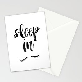 Sleep In Black and White Scandi Bedroom apartment Wall Decor for minimalist Typography Art Print Stationery Cards