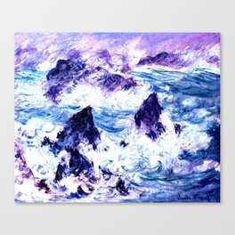 Monet : Storm At Belle Ile Vibrant Canvas Print