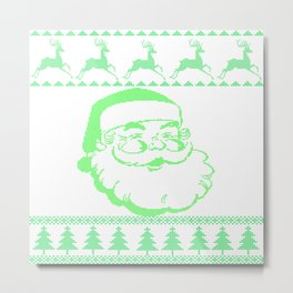 Santa Face Ugly Sweater Metal Print