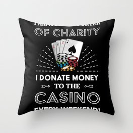 Funny Poker Casino Gambling Gift Throw Pillow