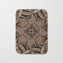 Beige and Black Geometric Mandala Bath Mat