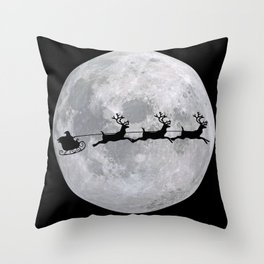 Christmas Photography - Santa's Sleigh In Front Of Moon Throw Pillow