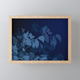 Blue Leaves Framed Mini Art Print