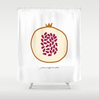 pomegranate Shower Curtains featuring POMEGRANATE by Lara Trimming
