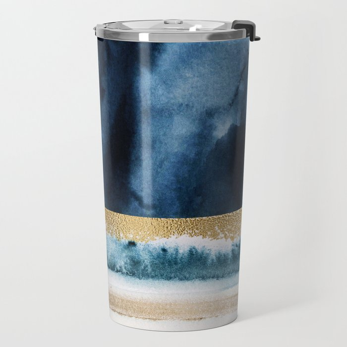 Navy Blue, Gold And White Abstract Watercolor Art Travel Mug