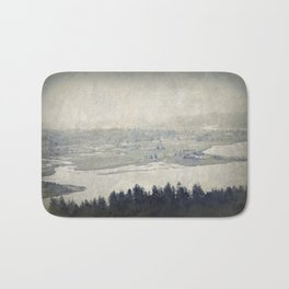 antiqued view from the Astoria Column Youngs Bay Bath Mat