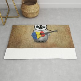 Baby Penguin Playing Romanian Flag Acoustic Guitar Rug