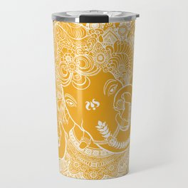 Ganesha Lineart Yellow White Travel Mug