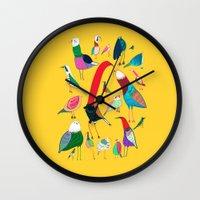 birds Wall Clocks featuring  Birds by Ashley Percival illustration