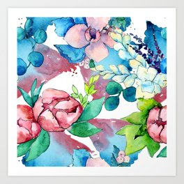 Floral Bouquet in Pastel Pinks and Blues Art Print