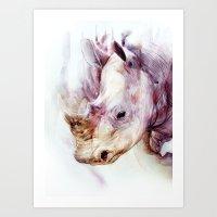 rhino Art Prints featuring RHINO by beart24