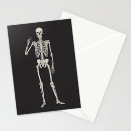 Mystic of 94 Magical Mystical Gothic Human Skeleton Giving The Peace Sign Bones Black & White Stationery Cards