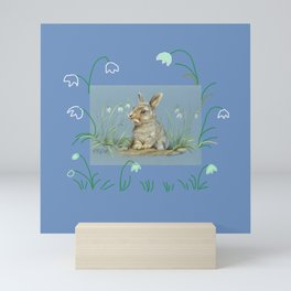 Spring Bunny in the meadow of snowdrops Mini Art Print