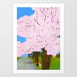 Cherry Blossoms Yorumonori Station Art Print