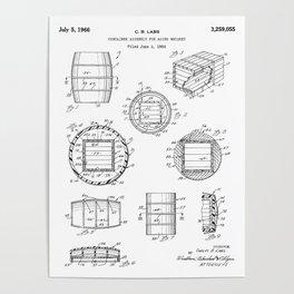 Whisky Barrel Patent - Whisky Art - Black And White Poster