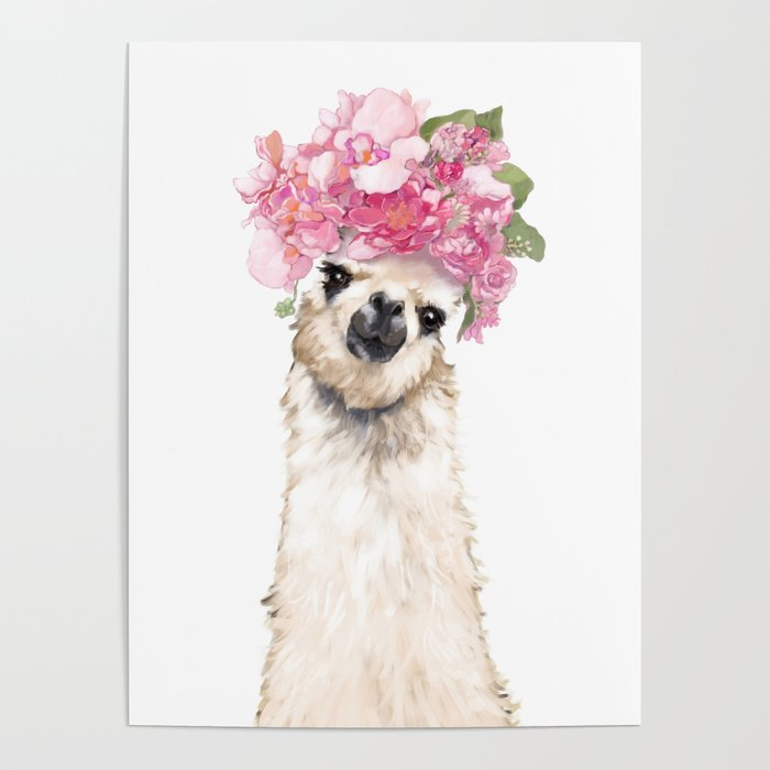 1566cdaf Llama with Beautiful Flowers Crown Poster by bignosework | Society6