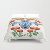 goat Duvet Covers featuring chinese goat by Manoou