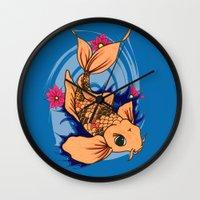 koi fish Wall Clocks featuring koi fish by Pinkspoisons