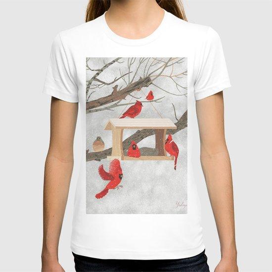 Cardinals at bird feeder by yuliyart