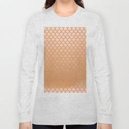 Chic modern coral faux gold quatrefoil pattern Long Sleeve T-shirt