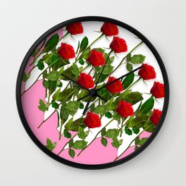 RED LONG STEMMED ROSES & PINK COLOR Wall Clock