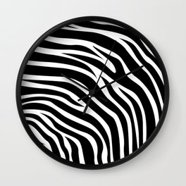 Animal Print Pattern - Zebra Black & White Wall Clock