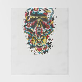 Eagle and eyes Throw Blanket