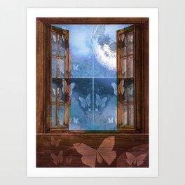 Night Sky Butterfly Moon Window Art Print