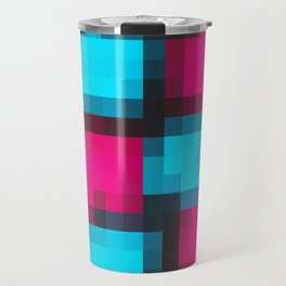 blue pink and black pixel abstract Travel Mug
