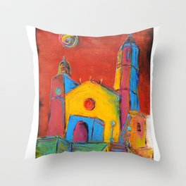 Sitges Church Throw Pillow