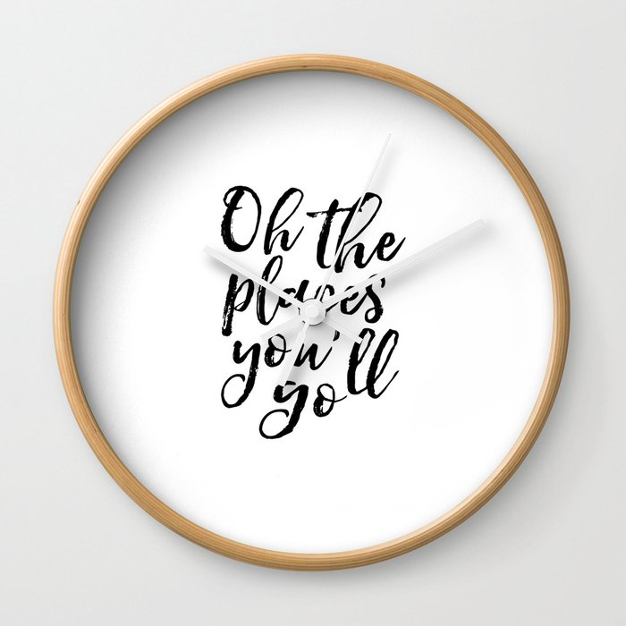 image about Oh the Places You'll Go Printable known as Typography Print Printable Wall Artwork Oh the Puts Youll Move Nursery Decor Stylish Experience Generate Wall Clock by means of typohouseart