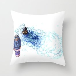 Ninja Stealthily Disappears into Bubble Bath Throw Pillow
