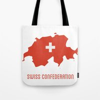 switzerland Tote Bags featuring Switzerland by ptrlng