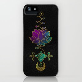 Mystic Colorful Unalome Lotus Symbol iPhone Case