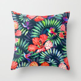 Dark tropical red flowers and hummingbirds Throw Pillow