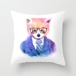 Cute fashion hipster animals pets red panda Throw Pillow