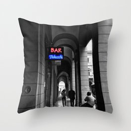 Bar Tabacchi in Bologna Black and White Color Splash Photography Throw Pillow