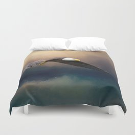 Painting flying american bald eagle Duvet Cover
