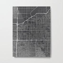 Mesa Map, Arizona USA - Charcoal Portrait Metal Print