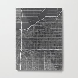 Mesa Map, Arizona USA - Charcoal Portrait Metal Print