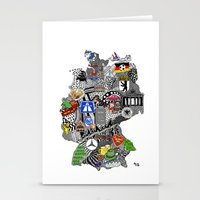 mercedes Stationery Cards featuring Germany Doodle by Rebecca Bear