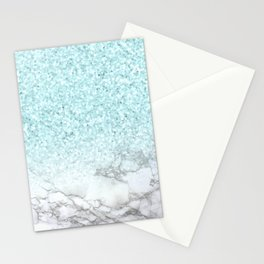 Pretty Turquoise Marble Sparkle Stationery Cards