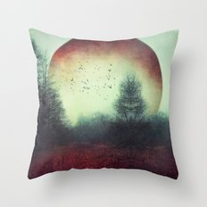 unReality - Fantastic Landscape with Red Planet Throw Pillow